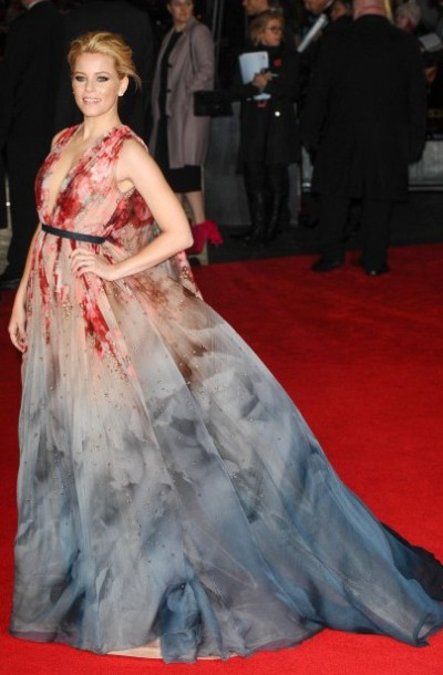 Elizabeth Banks in Elie Saab (November) Banks red carpet wardrobe promoting the latest Hungers Games was outstanding but this incredible Elie Saab gown was breathtaking. The colour combo was exciting and the cut was super over-the-top glamourous. Elizabeth Taylor would have worn this dress in her prime. That's how good it was.