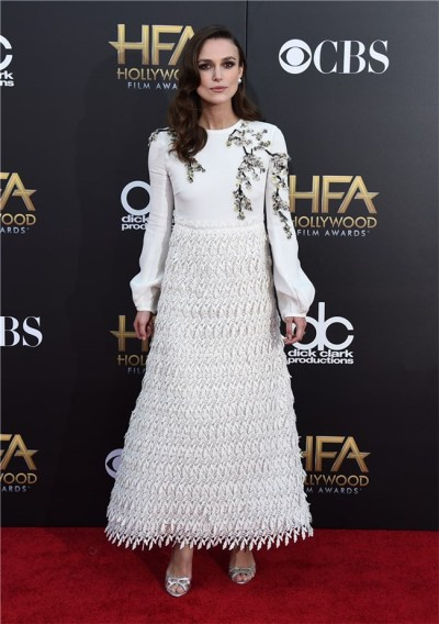 Keira Knightley in Giambattista Valli (November) Knightley always manes interesting red carpet choices and this one was definitely one of the most beautiful dresses of the year. It was feminine and soft and impeccably made. And the floral embroidery was perfection. Dresses like this are like art.
