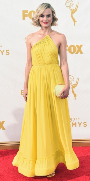 LOS ANGELES, CA - SEPTEMBER 20: Actress Taylor Schilling attends the 67th Annual Primetime Emmy Awards at Microsoft Theater on September 20, 2015 in Los Angeles, California. (Photo by Jason Merritt/Getty Images)